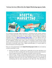 Various Services Offered by the Digital Marketing Agency India.pdf