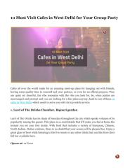 10 Must Visit Cafes in West Delhi for Your Group Party.pdf