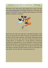 Get Cheap Overwatch Rank Boosting Services – SR Boosting.docx